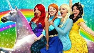 DISNEY PRINCESS MAGICAL UNICORN RIDE (with Frozen Elsa, Anna, Ariel and Belle)
