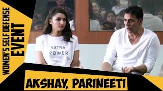 Akshay Kumar Aditya Thackeray and Parineeti Chopra At The Women's Self Defense Graduation Day