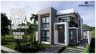 Modelo De Casas De 2 Pisos (Casa 7x14 Metros) Home Design Plan