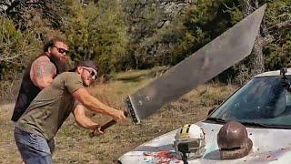 Мегамеч рубит машину и смеется в лицо бронебойной .50 BMG | Разрушительное ранчо | Перевод Zёбры