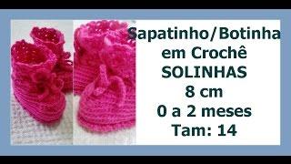 Diy - Série Solinha Bebê - Sapatinho/Botinha Completo - Tamanho 0 a 2 m - 8 cm  - Graça Tristão
