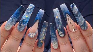 Long Acrylic Nails Midnight Stars Blue Nail Design ✨💙