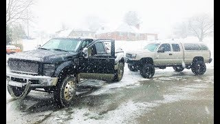DURAMAX SAVES The Big Ford in a Blizzard... + Dmax VS Raptor Snow Drag Race!
