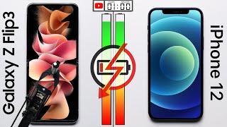 Galaxy Z Flip 3 vs iPhone 12 Battery Test