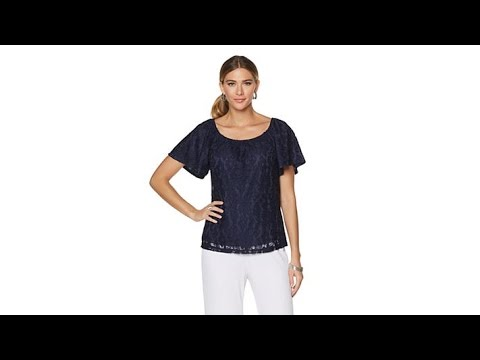 Slinky Brand Lace Peasant Top
