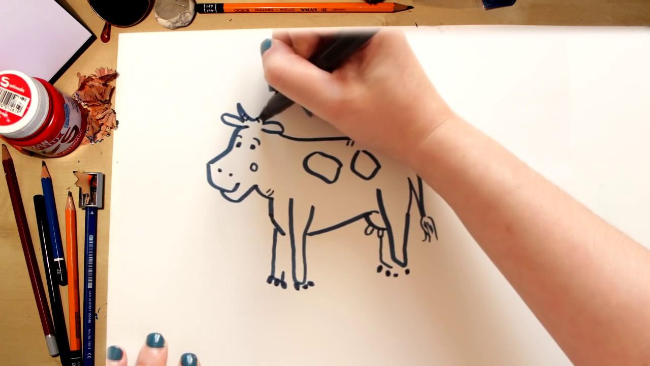 Como desenhar uma Vaca - desenhos para crianças