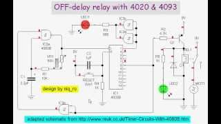 off-delay relay with 4020 & 4093