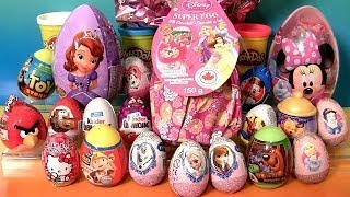 Giant Princess Kinder Surprise Eggs Disney Frozen Elsa Anna Minnie Mickey Play-Doh Huevos Sorpresa