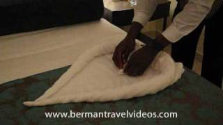 How To Fold A Towel Swan Video by -866-934-6292-Berman Travel