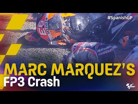マルク・マルケスがクラッシュ MotoGP 2021 第4戦スペインGP フリープラクティス3のハイライト動画