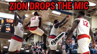 Zion Williamson Flexes And Attempts IMPOSSIBLE DUNK! Jams His Way To STATE TITLE GAME 💪