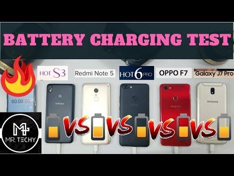 Battery Charging Test Comparison Infinix Hot 6 Pro VS Hot S3 VS Redmi Note 5 VS Oppo F7 VS J7 Pro