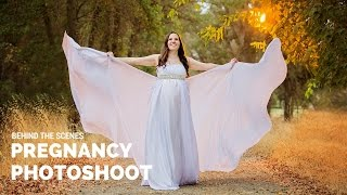 Beautiful Pregnancy Photoshoot, creating sun light in cloudy day, photography behind the scenes