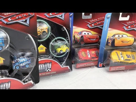 Cars 3 Metallic & Glow In The Dark Mini Racers | Lightning McQueen, Dinoco Cruz Ramirez