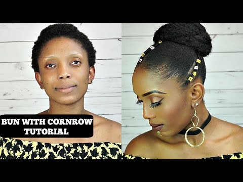 How To Do Bun With Cornrow Tutorial On Short 4C Natural Hair