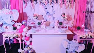 Elephant Baby Shower Dessert Table  Decor @ The Bianco