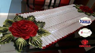 MEGA ROSA  De Crochê RUBI DE NATALtrilho De Mesa  12