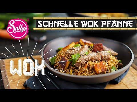 Gemüsenudelpfanne im Wok mit Rinderstreifen und Käse / Sallys Welt