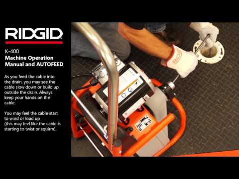 RIDGID K-400 Drum Machine – Machine Operation Manual & AUTOFEED