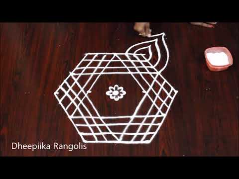 Simple Star Muggulu Design With 5x3 Dots Small Daily Kolam Designs