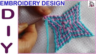 Hand Embroidery Tutorial | Cross Stitch Tablecover Border Design | Latest Embroidery Design
