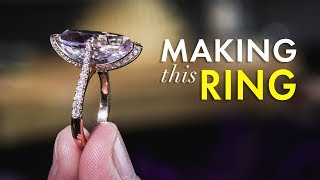 Rose Gold and Diamond Ring with Kunzite Stone