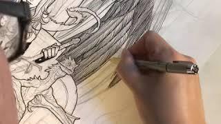 Frank Cho Drawing Demo - Inking Grim Reaper, Lady Death