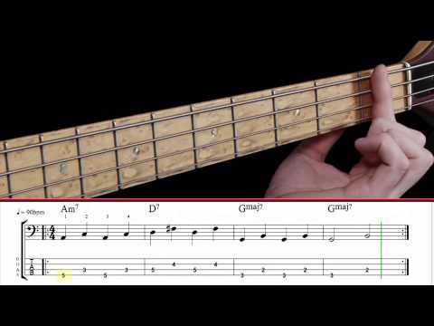 Learn Bass Guitar - Part A - Constructing Bass Lines using II V 1 chord progression