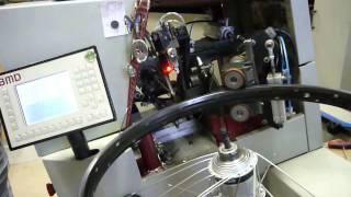 Bicycle wheel lacing large offset rims simulation round