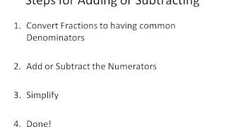 Adding and Subtracting Fractions Part 1: The Basics