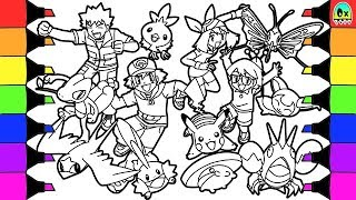 Pokemon Coloring Book Pages For Kids Speed Coloring Ash And Friends With  Pikachu