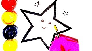 Glitter Star coloring and drawing for Kids, Toddlers Children's Art