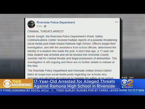 17-Year-Old Boy Arrested For Threats Against Ramona High School In Riverside