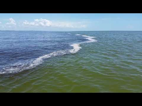 Where two waters meet and do not mix in front of Sanibel Florida