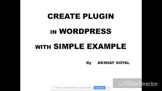 Create Plugin In Wordpress With Simple Example