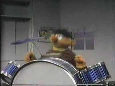 Classic Sesame Street - Ernie, the drums, and Bert's knock