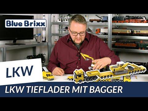 Schwerlast-LKW Augsburg mit Bagger auf Tieflader