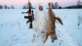 I KILLED MY FIRST COYOTE!!! (Arctic Ghillie Suit Challenge)