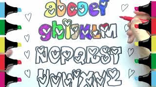 How To Color Cute ABC Alphabets/Coloring Pages/Comment Colorer Lalphabet ABC Mignon