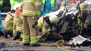 Truckdriver badly injured after 2 Truck collission Highway A1 Barneveld - Netherlands 17 07 2014