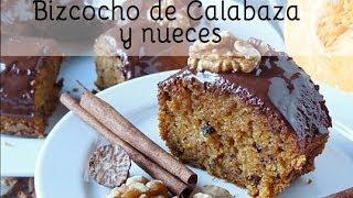 Receta facil: Bizcocho de Calabaza y Nueces con glaseado de chocolate