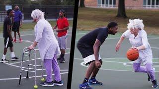 Grandma Plays Basketball At The Park!