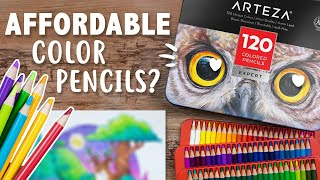FINALLY TRYING THESE! Are They Affordable? - Arteza Expert 120 Color Pencils Review
