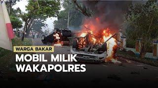 Demo Bantuan Langsung Tunai Berakhir Ricuh, Mobil Wakapolres Madina Dibakar Massa