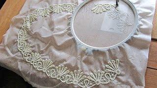 Как шить кружево?  Вышивка горловины в кружевном платье. Мастер-класс