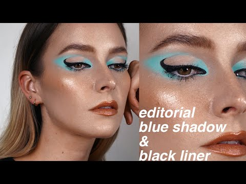 , title : 'editorial baby blue shadow and black liner tutorial
