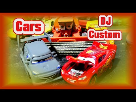 Pixar Cars Custom DJ And Precision Lightning McQueen With Mater Play Set