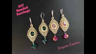 Party Wear Beaded Earrings. Peyote & Herringbone Stitch.DIY Jewelry.Intermediate Level 💞