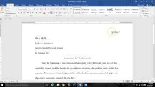 Page setup for heading and header in MLA format