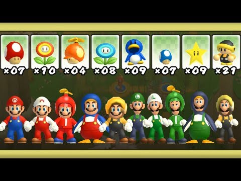 Newer Super Mario Bros Wii - All Power-Ups (2 Players)